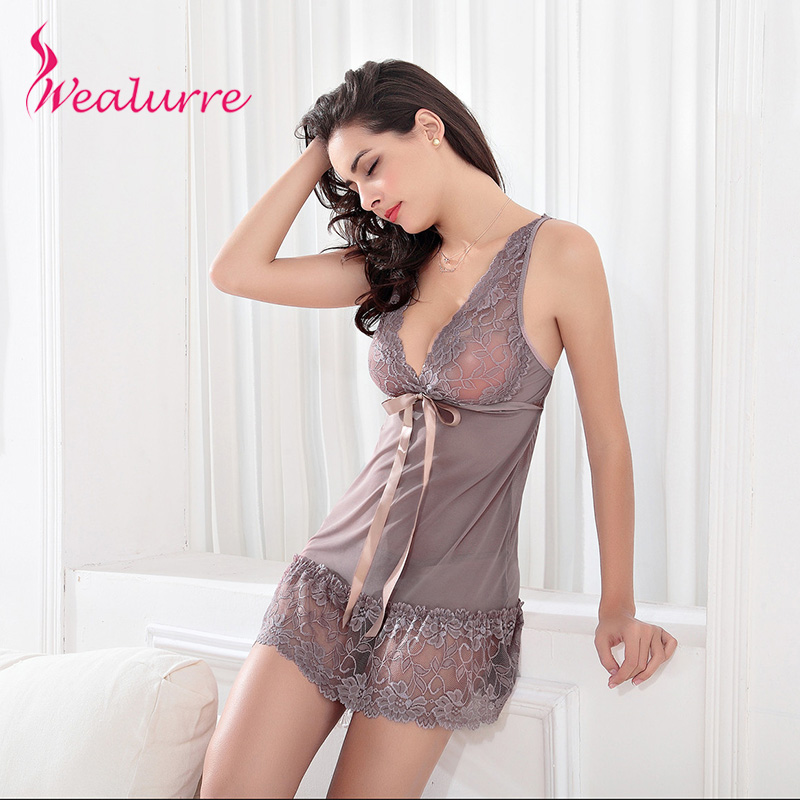 2017 New Plus Size Lingerie Sexy Robe Hot Lace And Mesh -8866
