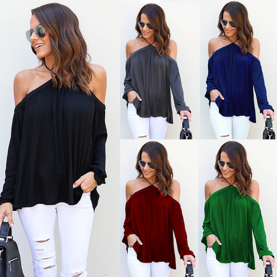 a4b6885e3d Tony Candice Women s Solid Hanging Neck Strapless Long Sleeve T-shirt Sexy  Ladies Tops Shirt Hatter