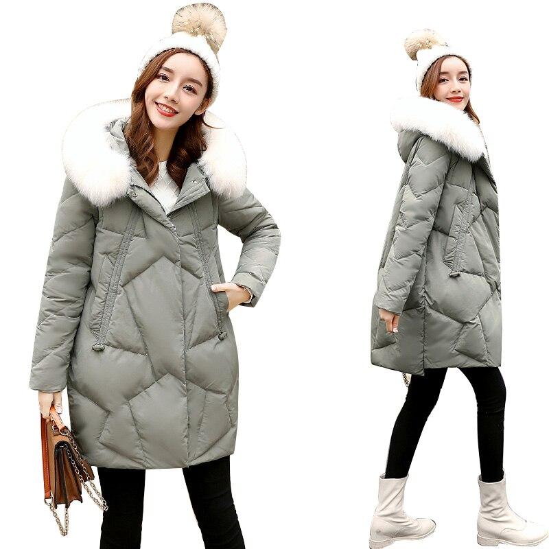 Natural Real Fox Fur Collar Winter Coat Women White Duck Down Jacket Warm Thick Winter Jacket Women Long Parka Snow Wear Coat