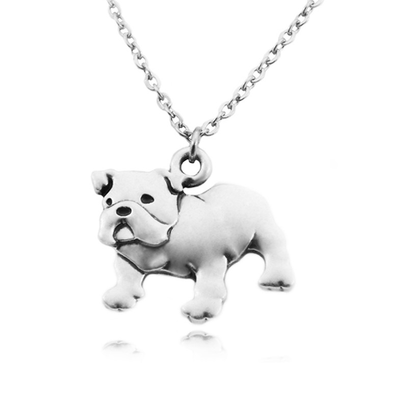 Vintage Silver Color Stainless Steel Long Chains English Bulldog Dog Charms Necklace Men Necklaces For Women Collier Femme|maxi necklace|long chaincollier femme - AliExpress
