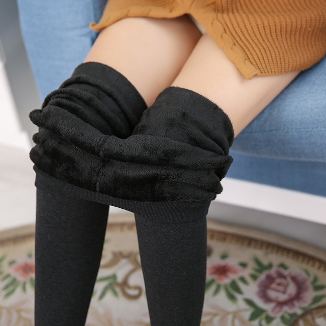 Winter high waist warm 100kg fat MM plus size women plus velvet solid color foot trousers Leggings femme pants outwear MZ1098