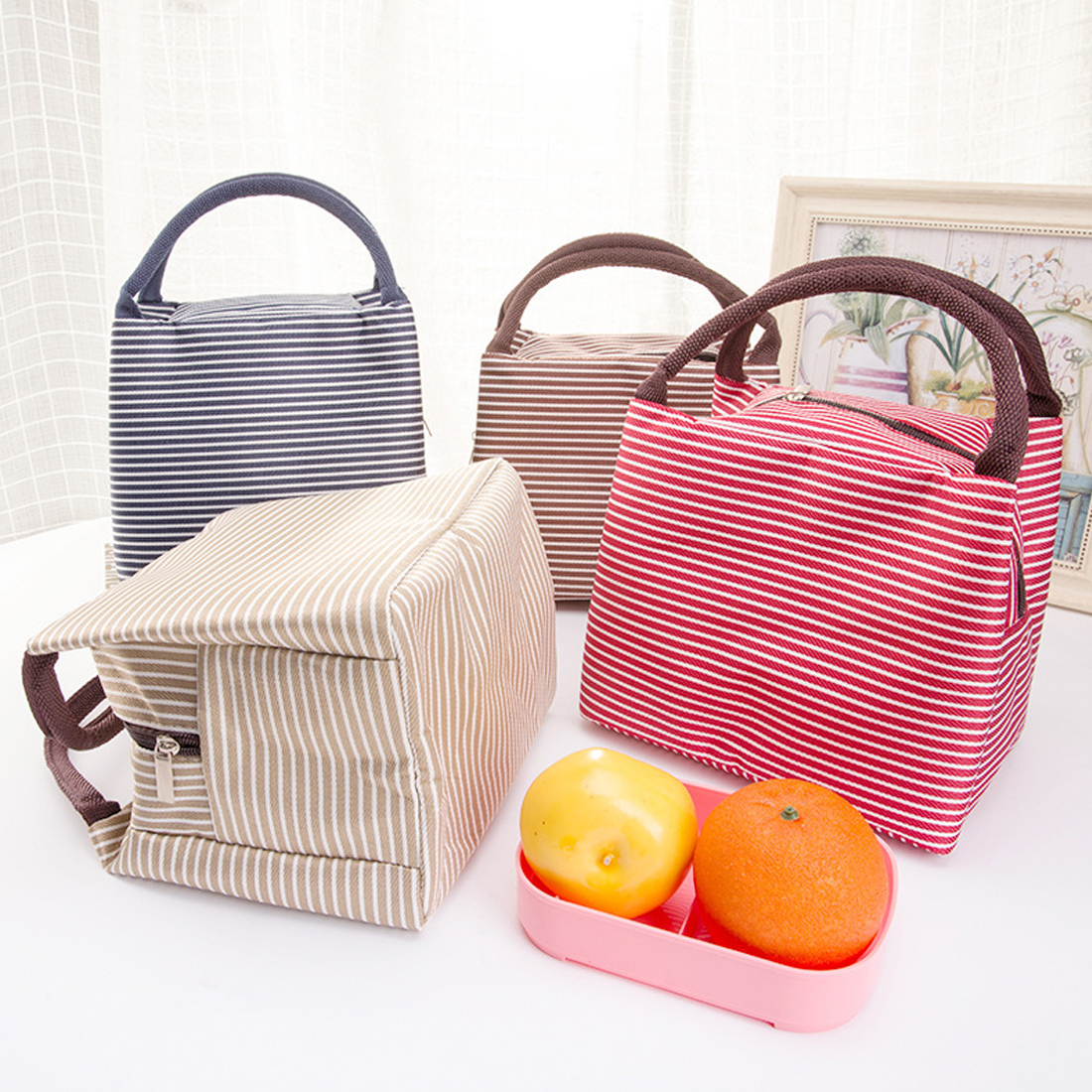 Women Portable Lunch Bag Canvas Stripe Insulated Cooler Bags Thermal Food Picnic Lunch Bags Kids Lunch Box Bag Tote