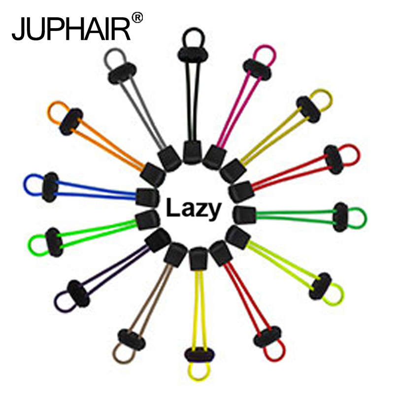 JUP1 Pair Locking Multi-color Shoelaces Black Buckle Lazy Shoelace Sneaker Elastic Adult Children Safe Elastic Shoe Lace Cordone