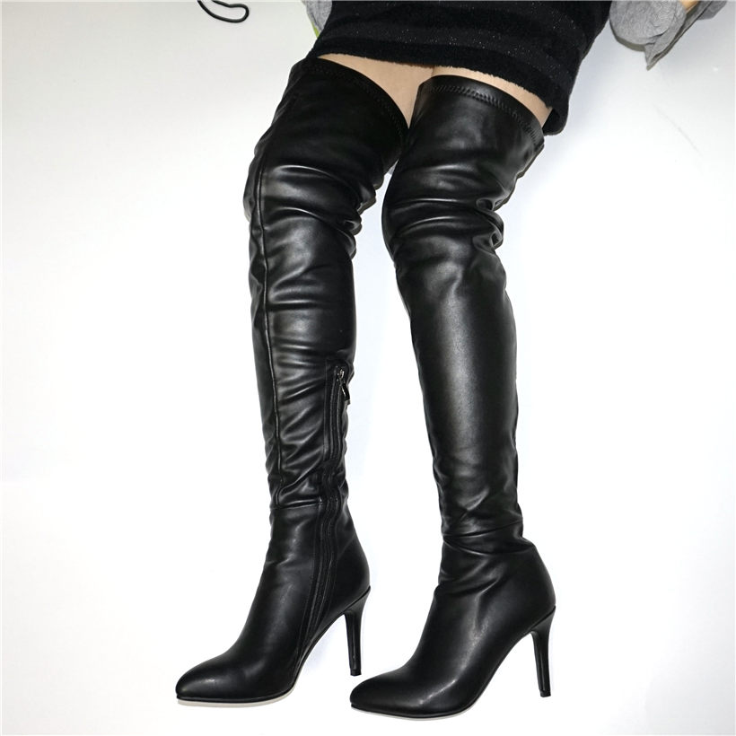 NAYIDUYUN  2019 Thigh High Boots Women Black Genuine Leather Pointed Toe Over The Knee Booties Slim Heel Party Pumps Shoes