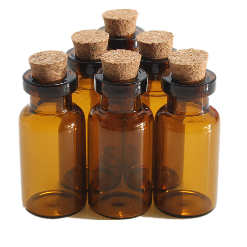 5pcs/lot 2ml  Small Brown Empty Wishing Glass Bottle Drifting Bottle Message Vial With Cork Stopper Vials Jars Containers
