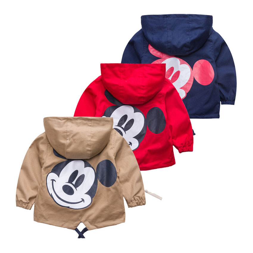 ZJHT New Spring Toddler Mickey Jackets For Boys Girls Clothes Children Hooded Coats Baby Bomber Windbreaker