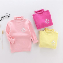 Funfeliz Baby Girl Sweater 2018 Autumn Winter Toddler Girls Sweaters Knitted Warm Turtleneck Pullover for Kids Cardigan цена 2017