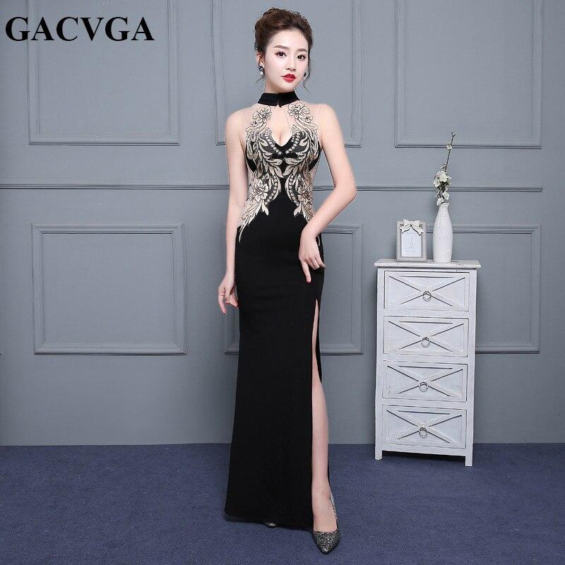 GACVGA 2019 broderie Floral Sexy longue robe nouveau Design femmes robes de soirée sans manches élégant dentelle femmes robe Vestidos