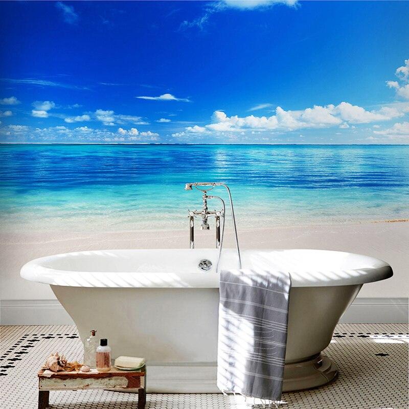 3D Wallpaper For Walls Blue Sky Seawater Photo Wall Mural Modern PVC Waterproof Self-Adhesive Bathroom Backdrop Wall Home Decor blue sky чаша северный олень
