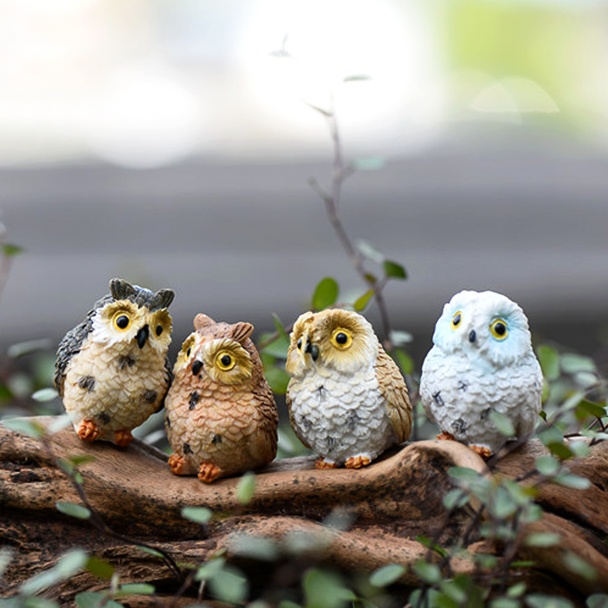 Owl Resin Fairy Landscape Doll Micro Ornaments Decoration For Home Garden DIY Decor