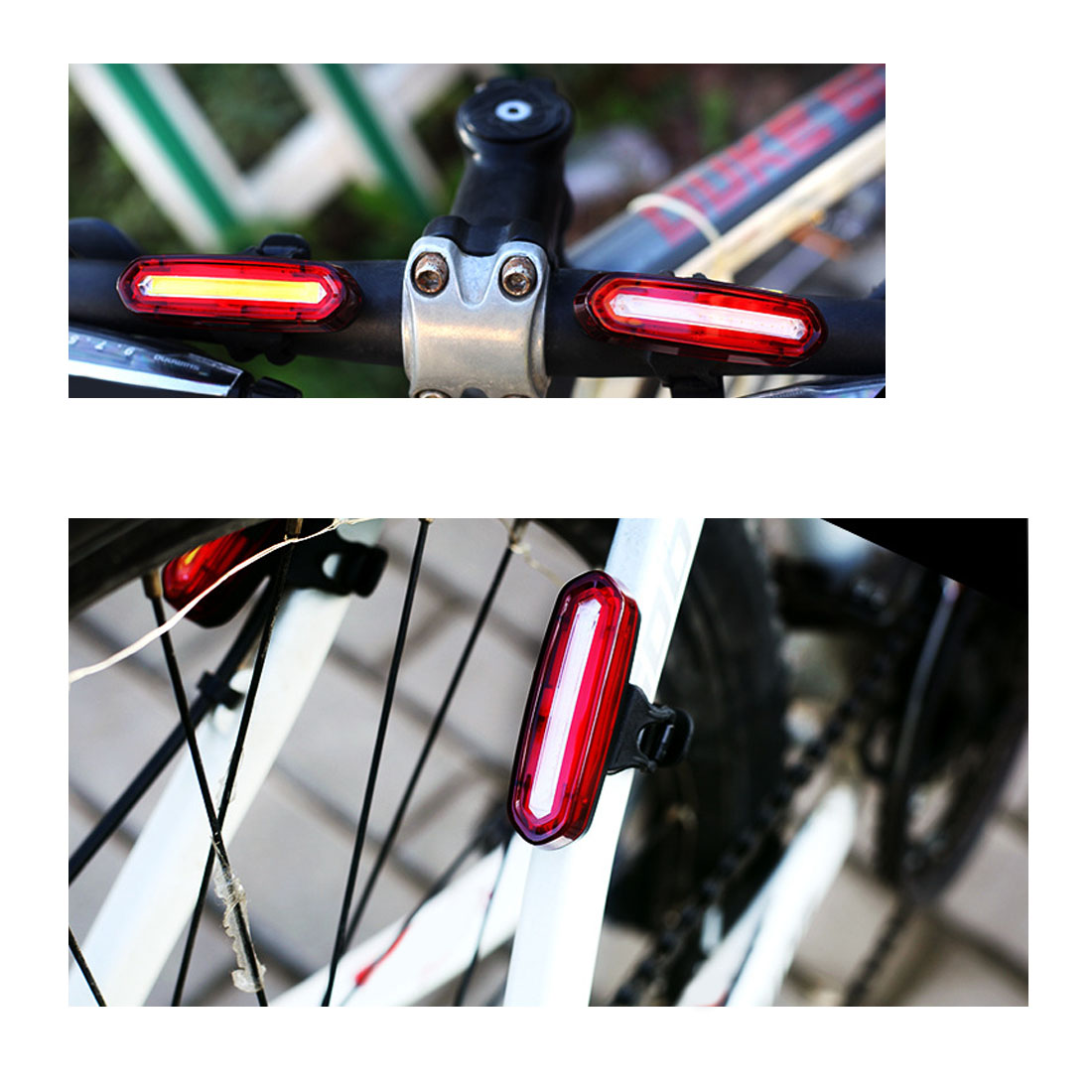 Super Bright LED USB Rechargeable Warning Bicycle Bike Cycling Tail Rear Light d