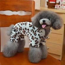 Y53 Warm Pet dog Fleece Clothes 4 legs Hoodies Jumpsuit for Small Puppy dog leopard Sweater outfits for Chihuahua