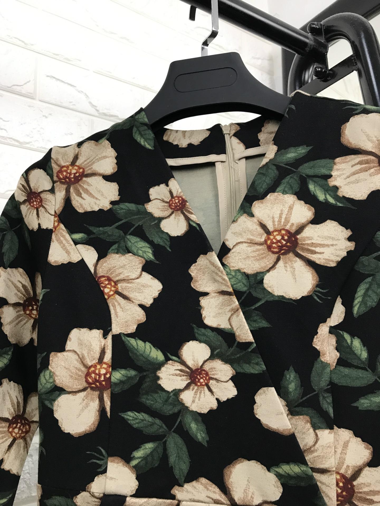 Floral Robes Mode Nouveau Imprimer Manches Vintage Casual Femmes Motif Robe V 2017 En Demi Automne Élégant Col Hiver r0q48T0w