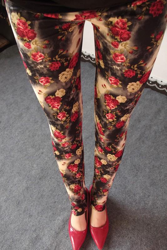 BIVIGAOS Spring Summer Womens Fashion Black Milk Thin Stretch leggings Colored Stars Graffiti Slim Skinny Leggings Pants Female 18