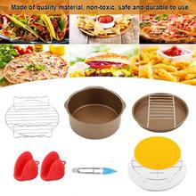 Heißer verkauf Air Friteuse Zubehör 8 Zoll Für 9 Stück Air Friteuse Kuchen Barrel Pizza Pan Silikon Matte Brot Regal lebensmittel Clip Metall Ra(China)