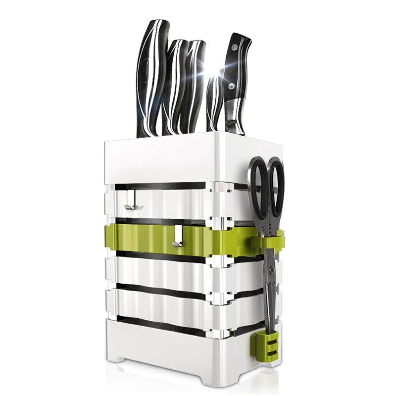 Kitchen Knife Holder Block PP Plaatic Universal Scissors Knife Stand Storage Rack Organizer White Utensil Accessories