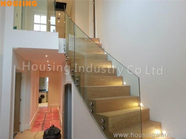 Templado Cristal Escaleras Balaustrada Con Madera Pasos Para La Casa - Escaleras-de-cristal-y-madera