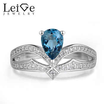 Leige Jewelry London Blue Topaz Ring Crown Rings Women Wedding Engagement Sterling Silver 925 Gemstone Jewelry Pear Cut Topaz - DISCOUNT ITEM  0% OFF All Category