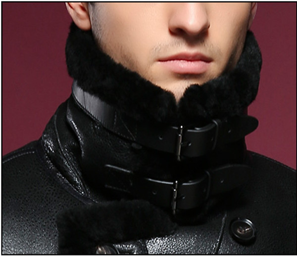 Natural sheepskin fur coat male double breasted long genuine leather garment winter real fur overcoat men turn-down collar