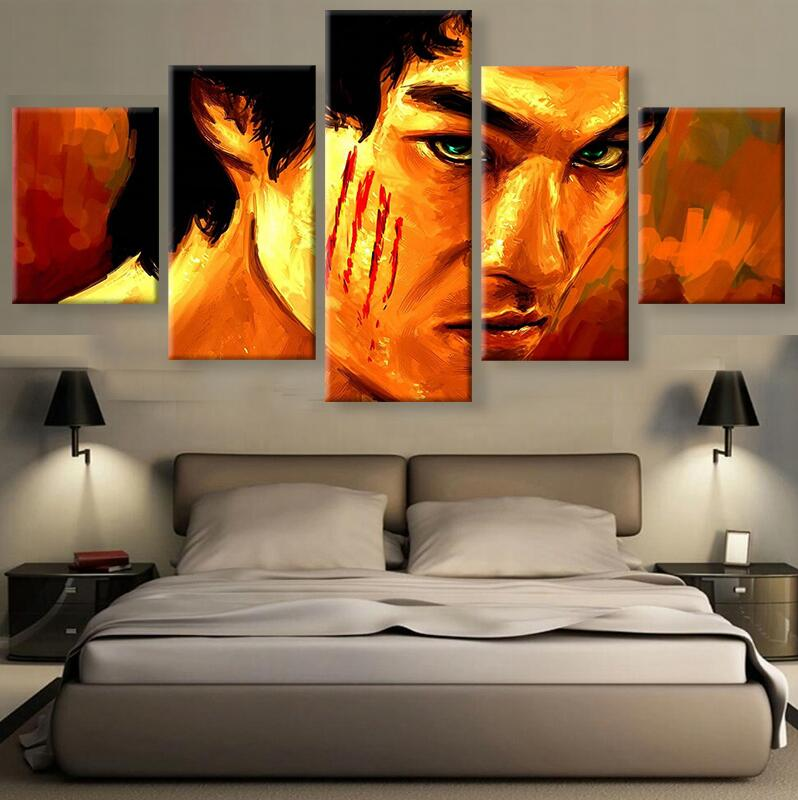 2017 Famous Dragon Ball Movie Canvas Painting Wall Sports Stars Prints Bruce Lee Marilyn Monroe Figure Painting