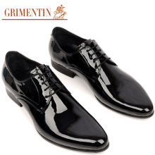 GRIMENTIN Luxury Handmade Men Shoes Men Casual Dress Italian Patent Leather Lace-up Black Brown Autumn Designer Formal Men Flats