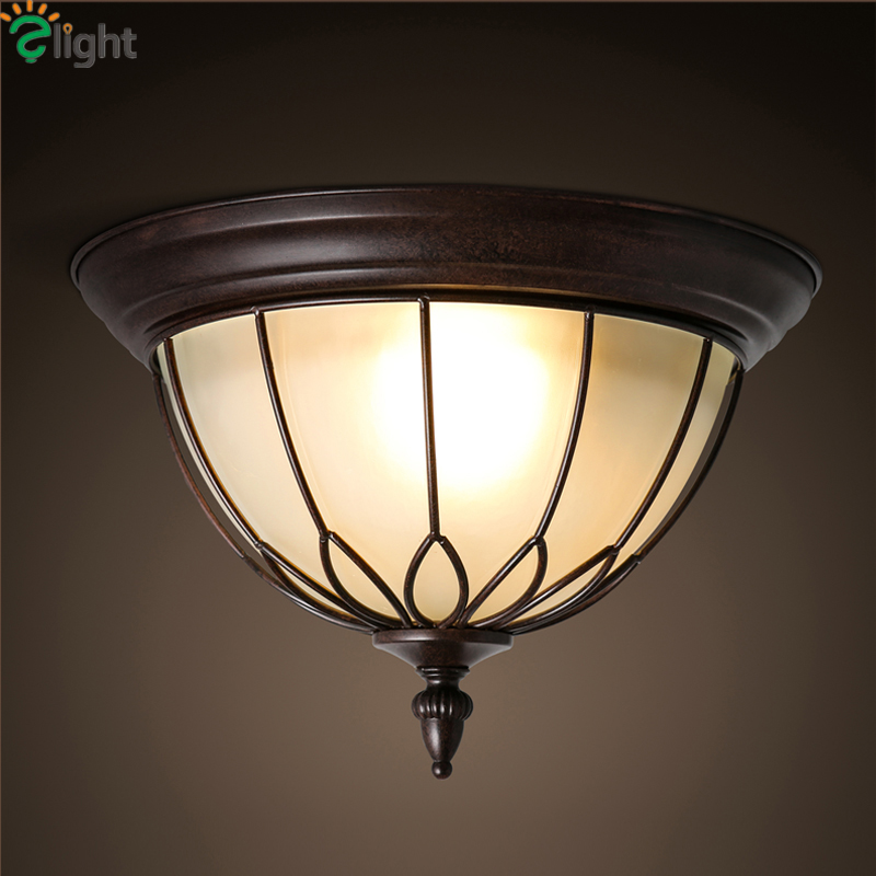 American Retro Bronze Iron Led Ceiling Lights Lustre Glass Balcony Led Ceiling Lamp Loft Led Ceiling Light Fixtures Luminarie