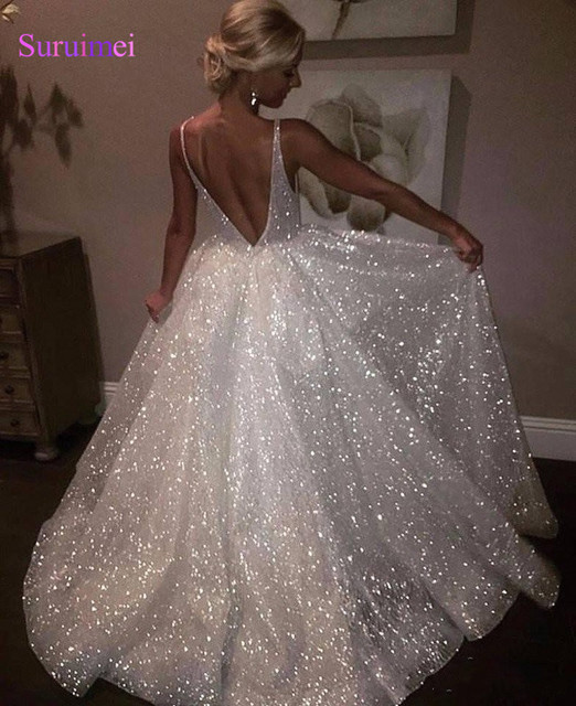 ee4d285a67e07 US $116.64 19% OFF|Sparkle Sequined White Long Evening Dresses 2018 New  Style Deep V Neck Sexy Low Back Long Prom Gowns Cheap Pageant Special  Occas-in ...