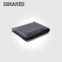 ISHARES High Quality Men Short Handmade Weave Genuine Leather Wallets Male Fashion Sheep Leather Horizontal Purse