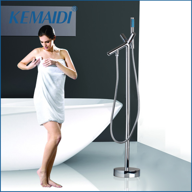 KEMAIDI Bathroom Chrome Single Handle Special Design Solid Brass Floor Stand Mounted Bathtub Tap Shower Faucet
