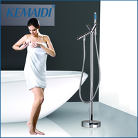KEMAIDI Bathroom Chrome Single Handle Special Design Solid Brass Floor Stand Mounted Bathtub Tap Shower Faucet with Hand Shower