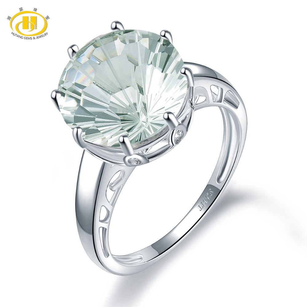 Hutang 6.77ct Natural Green Amethyst Wedding Rings 925 Sterling Silver Concave Cut Gemstone Ring Fine Elegant Jewlry For Women