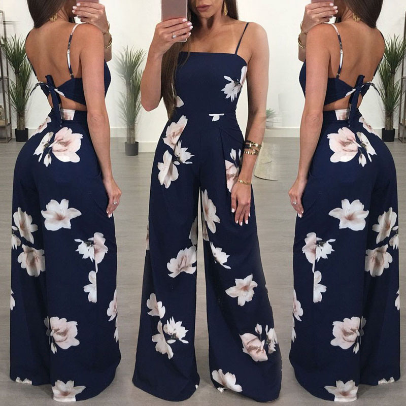 2019 Summer Elegant   Jumpsuit   For Women Sexy Backless Floral Print Rompers Womens   Jumpsuit   Long Pants Casual Beach Overalls DG401