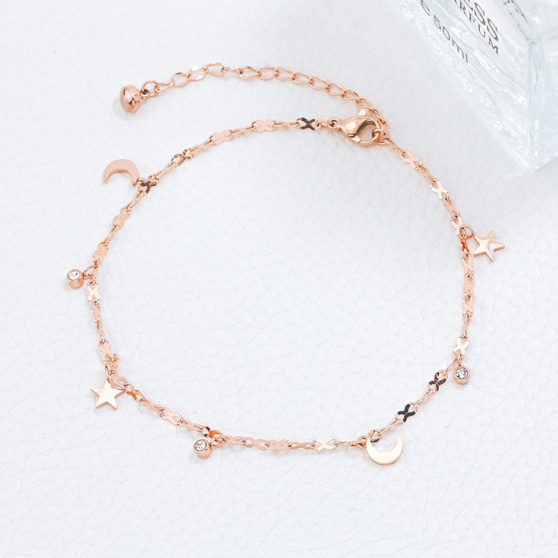 YUN RUO 2020 Fashion Rose Gold Anklet Elegant Star and Moon Chain for Woman Girl Gift 316 L Stainless Steel Jewelry Top Quality