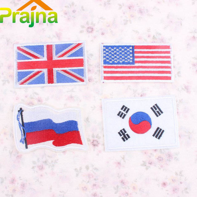 Korea Us Uk Russian Flag Patch Logo Iron On Cheap Embroidery Country