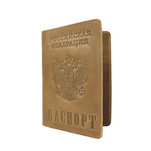 Russian Federation National Emblem Genuine Leather Passport Cover Retro Business Card Holder S603 Men Credit Card ID Holders