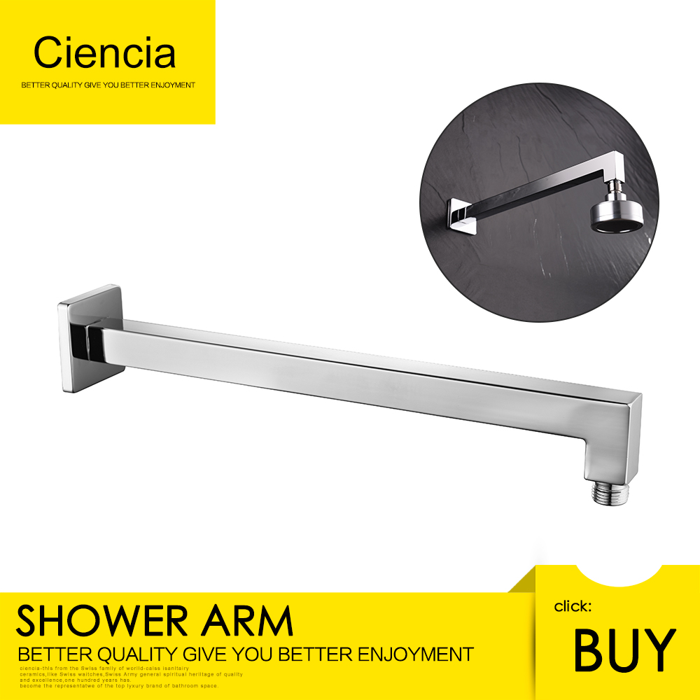 Free shipping wall mounted SUS304 stainless steel chrome 13 8 quot square shower arm for shower head bathroom showering parts in Shower Heads from Home Improvement
