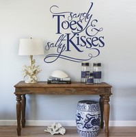 Sandy Toes And Salty Kisses Beach Wall Stickers Inspired Lettering Wall Decals Wall Quotes Island Decors