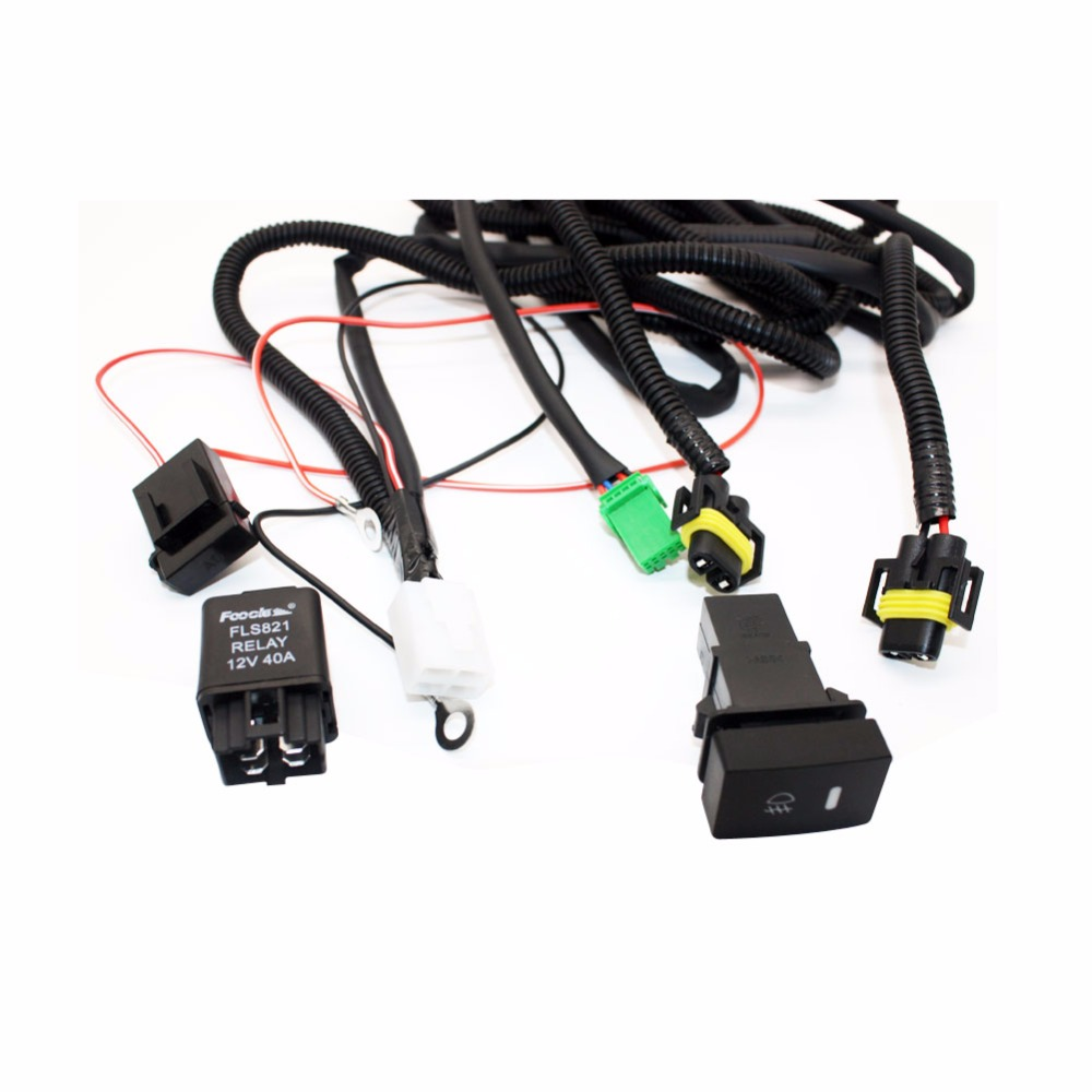 small resolution of for mitsubishi l200 kb t ka t pickup h11 wiring harness sockets wire connector switch 2 fog lights drl front bumper led lamp in car light assembly from