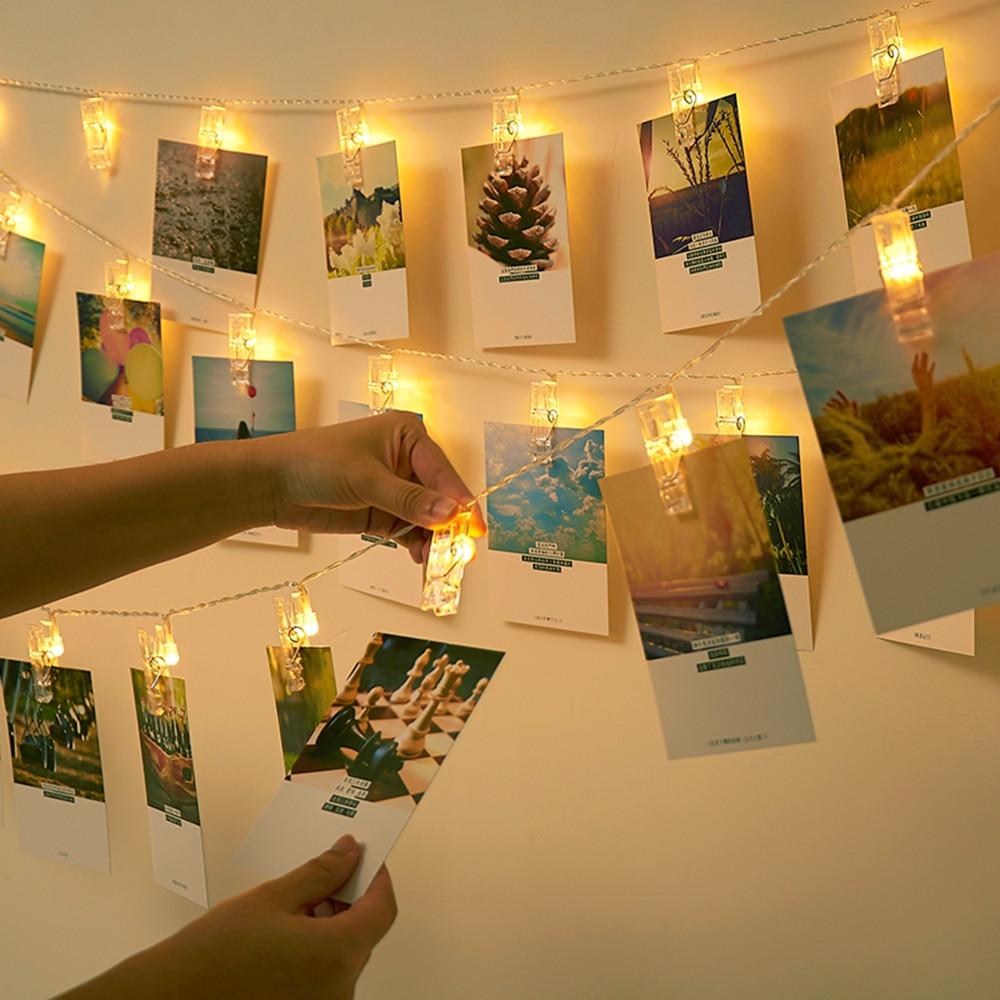 Светодиодная гирлянда с зажимом для фотографий, 1,5 м, 2 м, 3 м, 10, 20, 30 светодиодов, для свадьбы, вечеринки, праздника, домашнее освещение, декора...