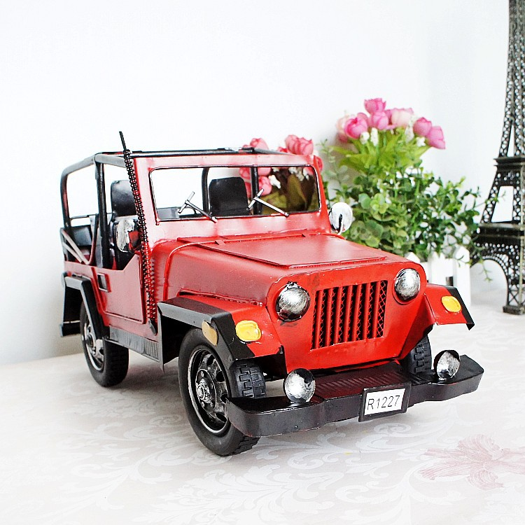 Retro SUV cross-country model Handicraft Tin Jeep Crafts Vintage Model Metal Iron Simulation Car Model Collective Model 8551 hot retro iron motorcycle model ornaments vintage metal motorbike crafts home decor xmas gift kids gift free shipping two color