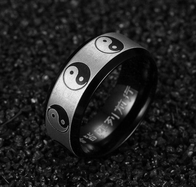 Кольцо инь янь нержавеющая сталь 3