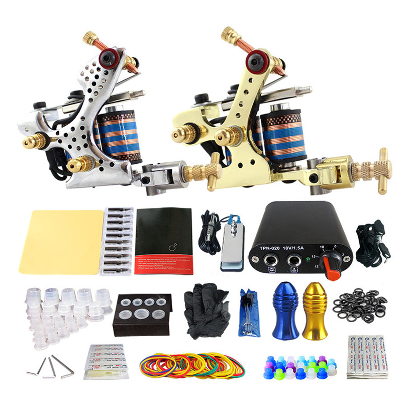 Complete Tattoo Kit Pro 2Pcs Steel Casting Coil Tattoo Machines Power Supply Needles Tips Grips Tattoo Supplies For Body Art 11 11 free shippinng 6 x stainless steel 0 63mm od 22ga glue liquid dispenser needles tips