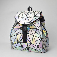 Fashion Women Drawstring Backpack Geometric Female Backpacks For Teenage Girls Bagpack Holographic Ladies bao School Bag Sac