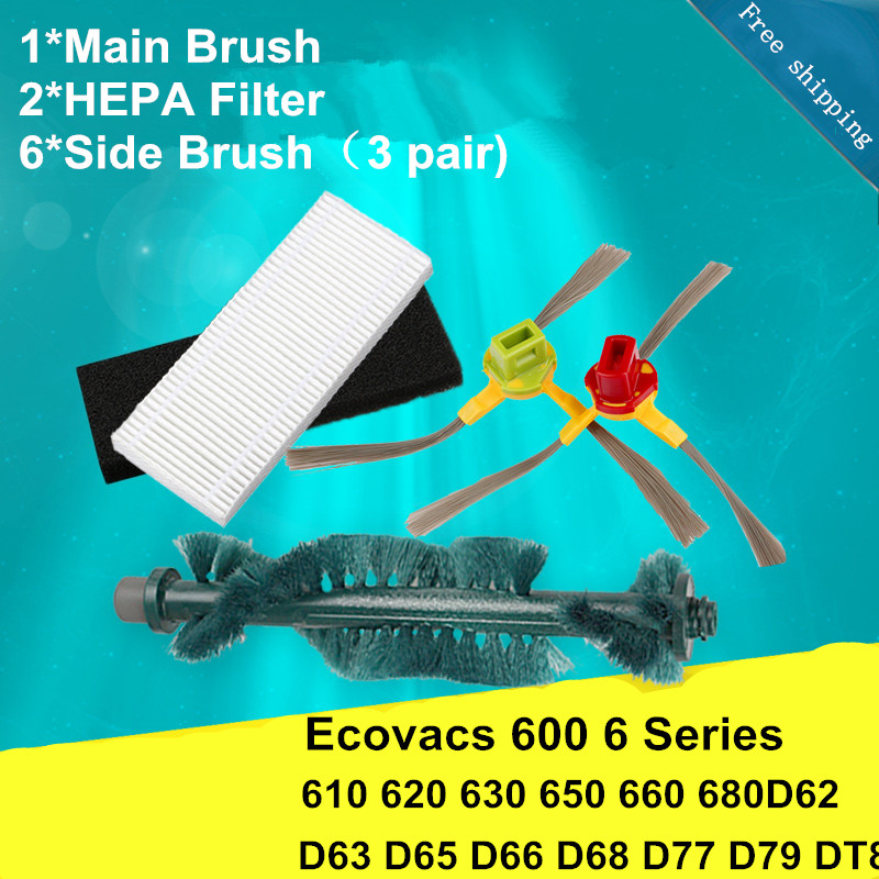 1*Main Brush+HEPA Filter*2+Side Brush*6 Vacuum Cleaner Parts for Ecovacs 600 6 Series Deebot Deep Hole 610 620 630 650 660 680D6 2 brush 3 side brush 3 hepa filter 1 cleaning cylinder robot vacuum cleaner 610 611 627 620 630 650 replacement parts