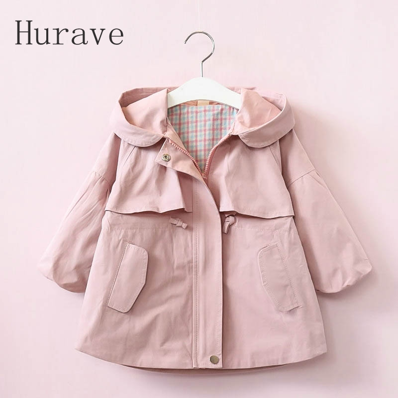Hurave Fashion Style New Warm Girl Trench 2017 Autumn Girl Coat Children's Thickening Clothes Kids Coat Beautiful Hooded Jacket 2017 new british children s jacket girl autumn children beautiful cowboy trench coat autumn