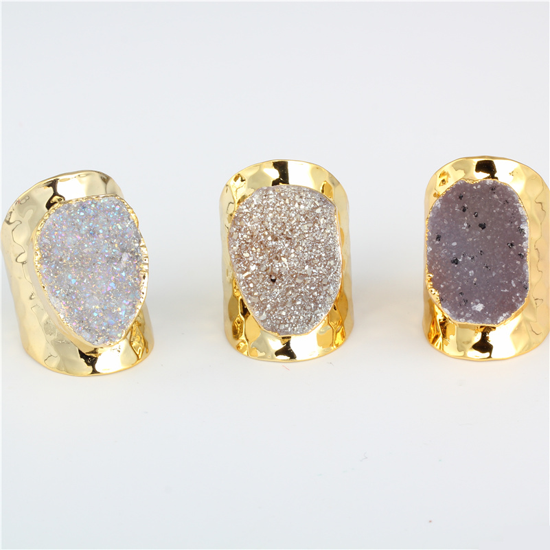 Luxury Natural Foggy Grey Rough Druzy Crystal Semi Precious Stone Pure Gold Color Metal Base Hammered Open Ring Cuff For Women charming solid color footprint cuff ring for women