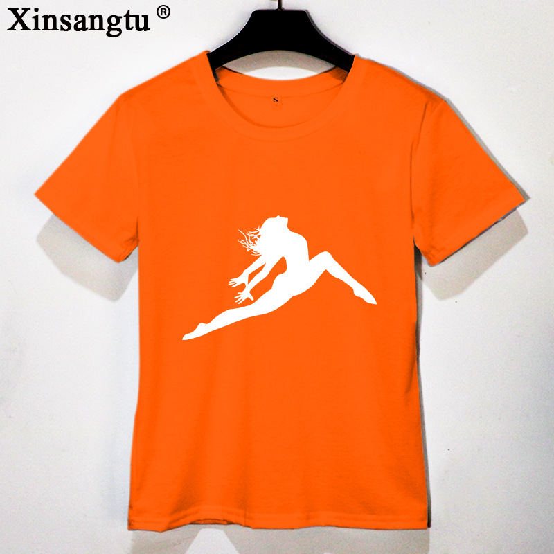 Xinsangtu 2018 New Funny Tees Shirts Dancer T Shirt women Shirts Group Graphic Custom Tee Short Sleeves Cotton T-Shirts
