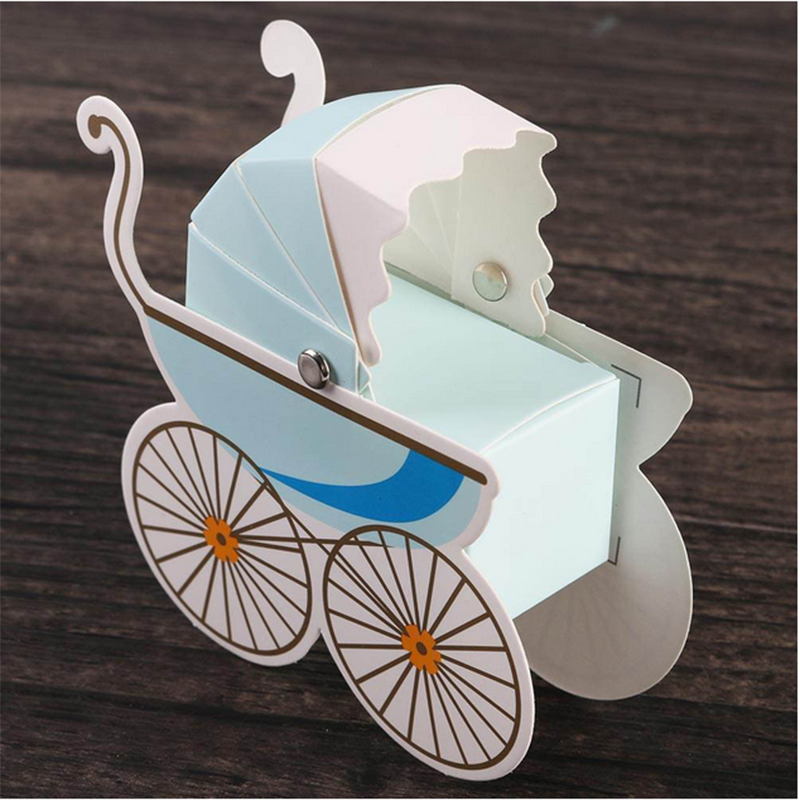50pcs/Set Laser Cut Stroller Shape Wedding Candy Boxes Party Wedding Baby Shower Favor Paper Gift Boxes Event & Party Supplies