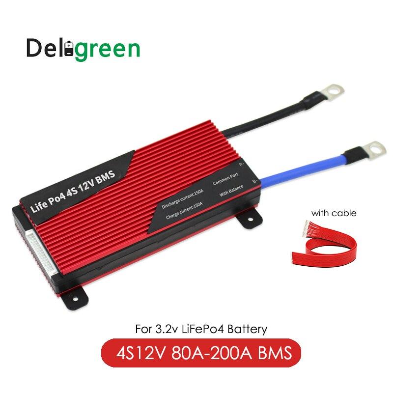 BMS Deligreen 4S 12V 80A 100A 120A LiFePO4 200A PCB BMS para 3.2V bateria De Lítio 18650 Bateria pack