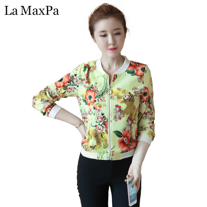 Spring and Autumn Printing Baseball uniform influx of New Large Size womens Long-sleeved coat jacket Temperament female